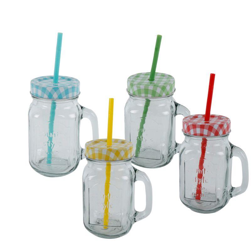 4er Set Trinkgläser mit Strohhalm /& Deckel Partygläser Trinkgläser Glas Gläser